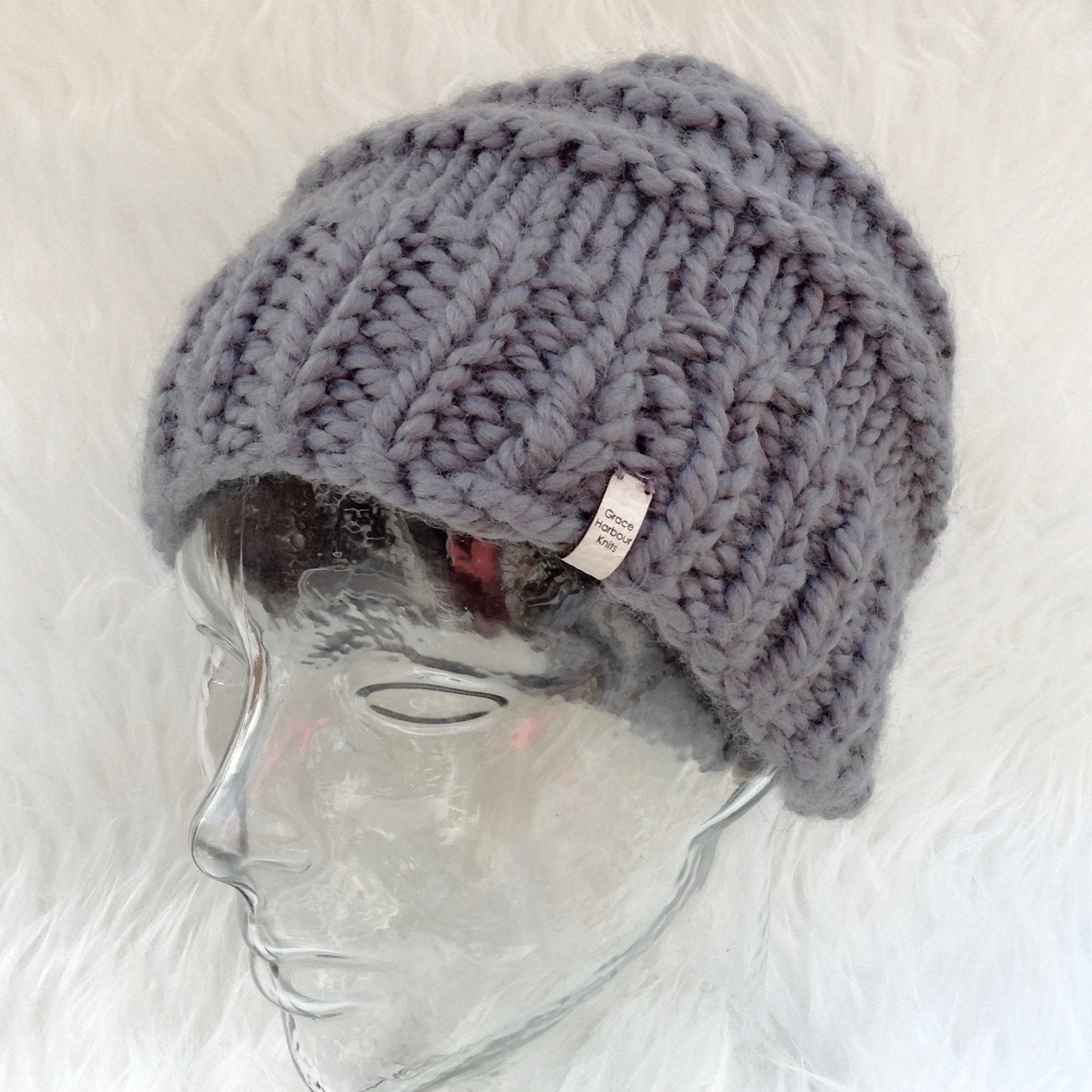 Wave over Wave Hat. Chunky Cozy textured Hat with or without Pom