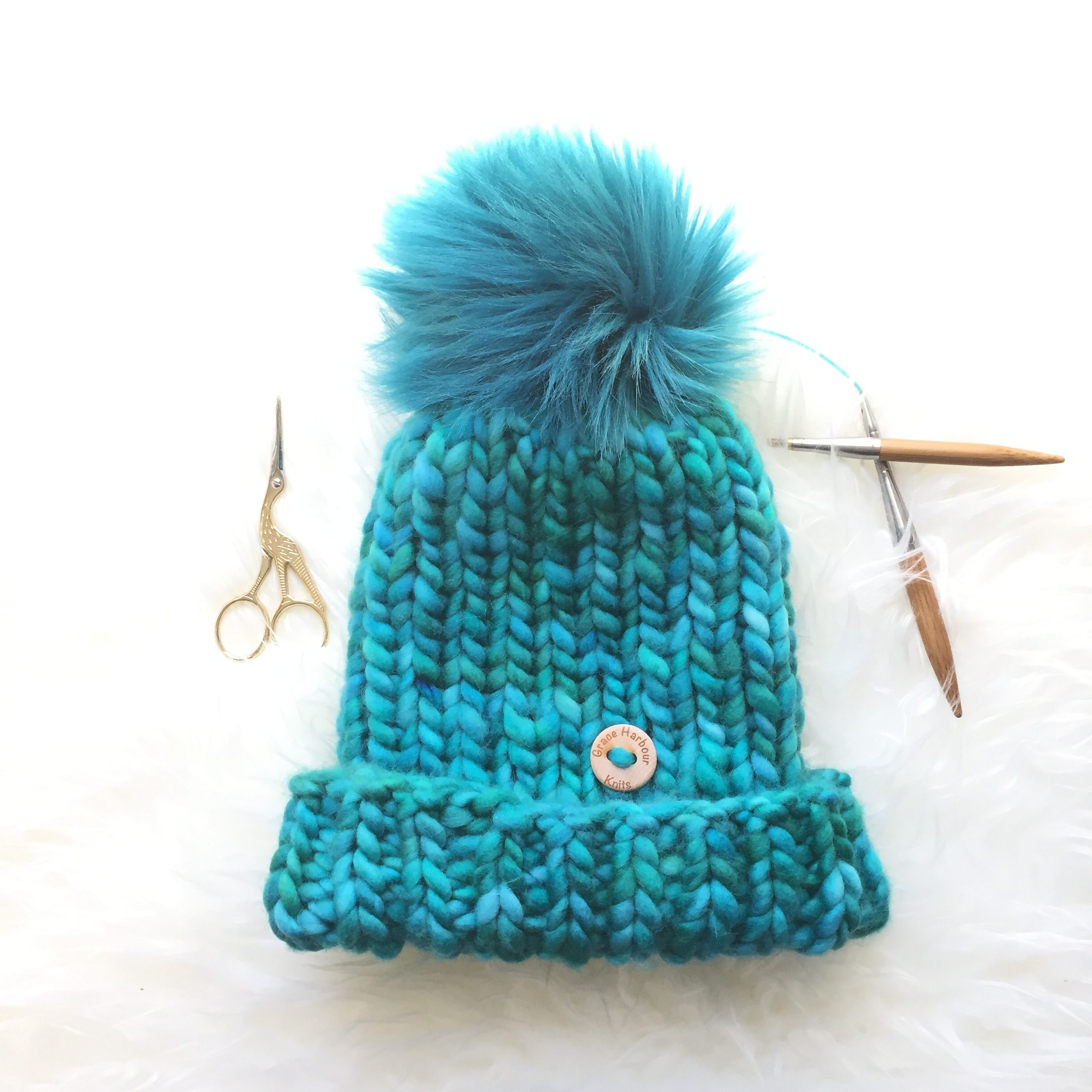 Heart's Content Beanie in Peacock