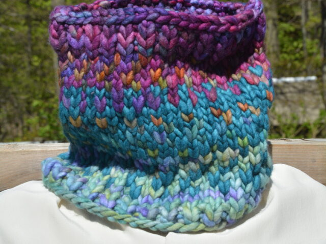 Sunrise Cowl in Super Chunky Purply Youth