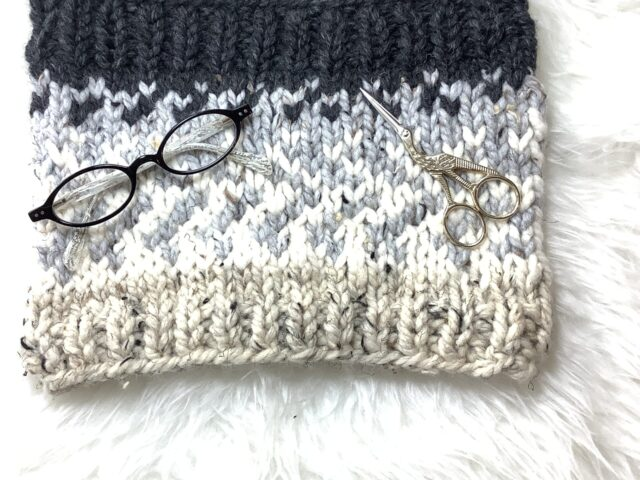 Sunrise Cowl in Wool Blend Black and White