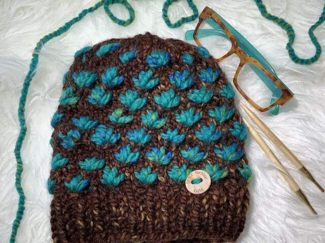 Lotus Flower Beanie in Sequoia and Bluegrass