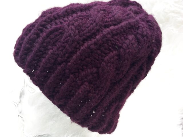 Grace Cable Knit Hat in Eggplant