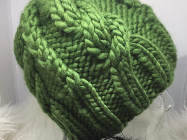 Marble Mountain Cables Hat in Cool Kale